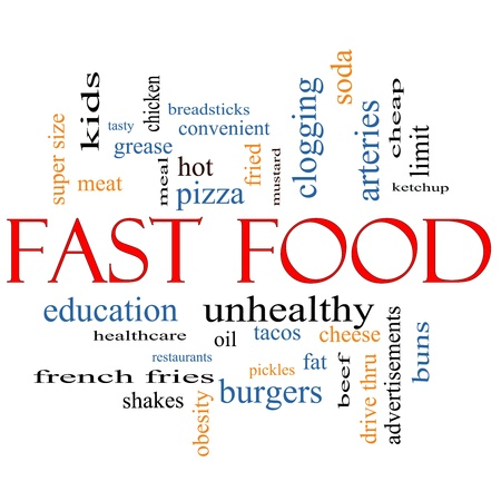 Fast Food Word Cloud Concept with great terms such as unhealthy, fat, grease, hamburger, meal and more.