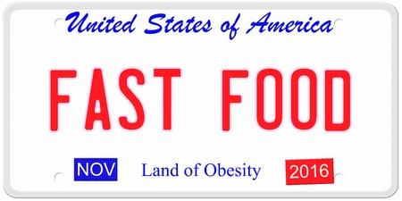 Een imitatie Verenigde Staten van Amerika kenteken met de woorden FAST FOOD en Land van Obesitas op de bodem het maken van een geweldig concept.