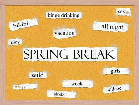 Spring Break Corkboard Word Concept with great terms such as bikini, vacation, week, wild and more. Stock Photo - 17503344