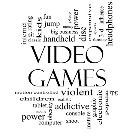 Video Games Word Cloud Concept in black and white with great terms such as addictive, violent, children, play, rating, fun and more. Stock Photo - 17503345