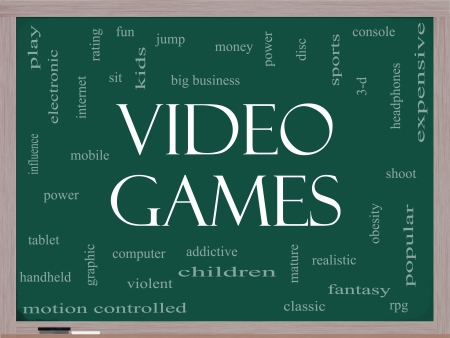 Video Games Word Cloud Concept on a Blackboard with great terms such as addictive, violent, children, play, rating, fun and more. Stock Photo - 17503341