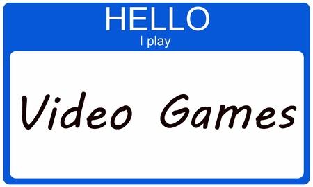 Hallo Ik Speel Games op een blauwe naamplaatje sticker Stockfoto