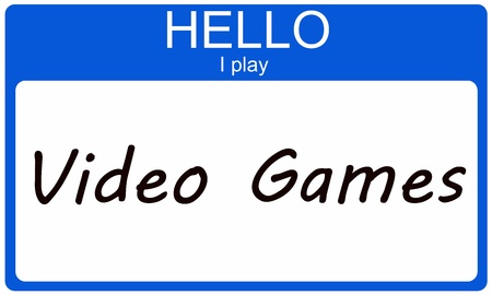 Hello I Play Video Games on a blue name tag sticker Stock Photo - 17503349