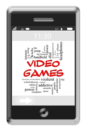 more mature: Video Games Word Cloud Concept of Touchscreen Phone with great terms such as violent, children, play, mature, shoot and more.