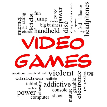 Video Games Word Cloud Concept in Red Caps with great terms such as addictive, violent, children, play, rating, fun and more. photo