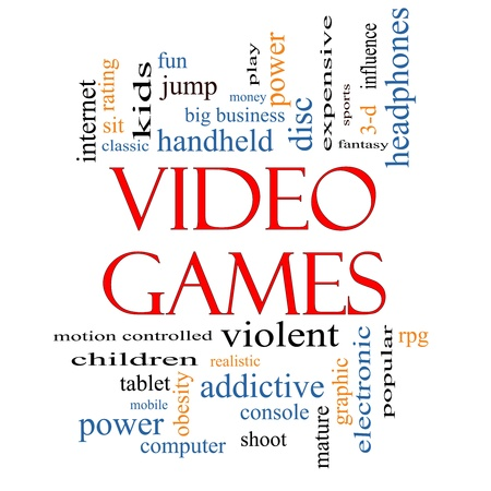 addictive: Video Games Word Cloud Concept with great terms such as addictive, violent, children, play, rating, fun and more.