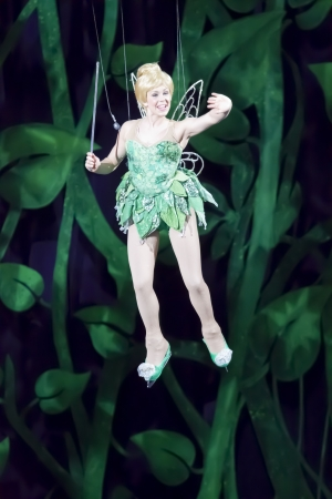 tinker bell: GREEN BAY, WI - MARCH 10:  Tinker Bell from Peter Pan on skates on wires at the Disney on Ice Treasure Trove show at the Resch Center on March 10, 2012 in Green Bay, Wisconsin.