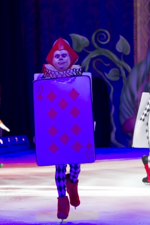 treasure trove: GREEN BAY, WI - MARCH 10:  Under Blue Light Card Soldier Ten of Diamonds from Alice in Wonderland on skates at the Disney on Ice Treasure Trove show at the Resch Center on March 10, 2012 in Green Bay, Wisconsin.