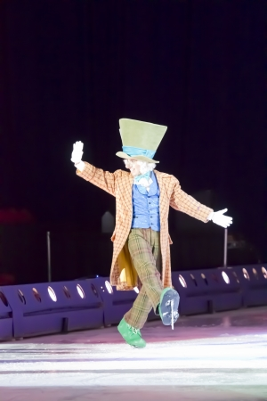 GREEN BAY, WI - MARCH 10:  Waving Mad Hatter from Alice in Wonderland on skates at the Disney on Ice Treasure Trove show at the Resch Center on March 10, 2012 in Green Bay, Wisconsin.