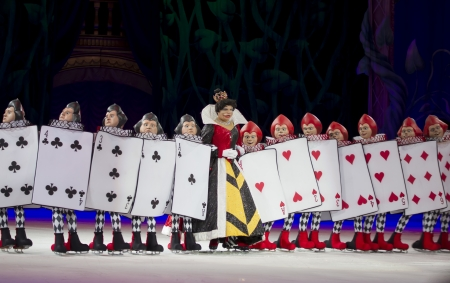 treasure trove: GREEN BAY, WI - MARCH 10:  Queen of Hearts and Card Soldiers from Alice in Wonderland on skates at the Disney on Ice Treasure Trove show at the Resch Center on March 10, 2012 in Green Bay, Wisconsin.