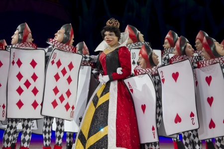 treasure trove: GREEN BAY, WI - MARCH 10:  Close up of Queen of Hearts and Card Soldiers from Alice in Wonderland on skates at the Disney on Ice Treasure Trove show at the Resch Center on March 10, 2012 in Green Bay, Wisconsin. Editorial
