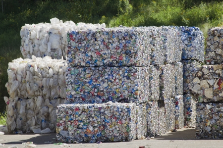 RHINELANDER, WI - AUGUST 27:  Bundles of Aluminum Cans at the Oneida County Landfill on August 27, 2011 in Rhinelander, Wisconsin.