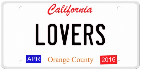 Een imitatie California kenteken met april 2016 stickers en LOVERS geschreven op het maken van een concept Stockfoto
