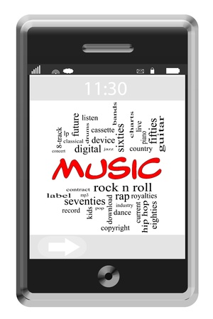 Music Word Cloud Concept of Touchscreen Phone with great terms such as rock n roll, rap, pop, download and more  photo