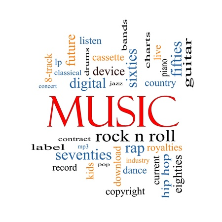 Music Word Cloud Concept with great terms such as rock n roll, rap, pop, download, lp and more  Stock Photo