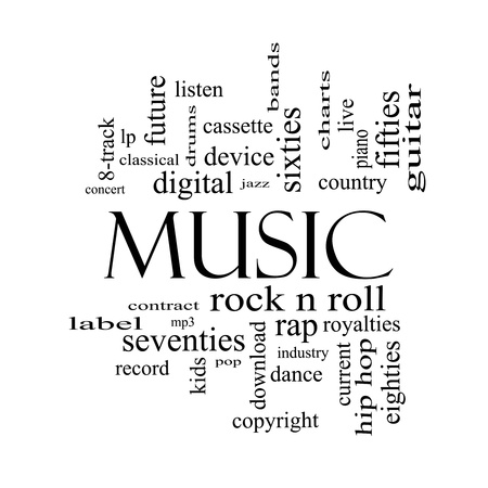 Music Word Cloud Concept in black and white with great terms such as rock n roll, rap, pop, download, lp and more  photo