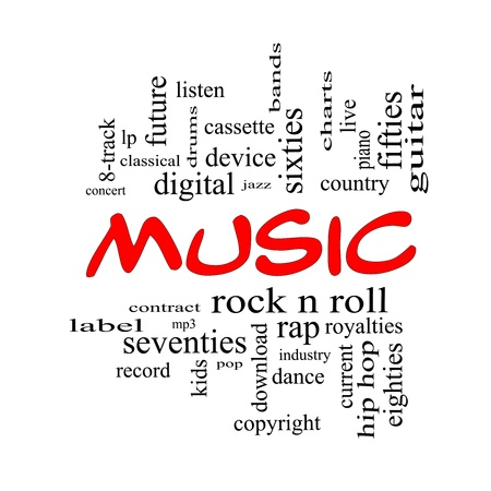 lp: Music Word Cloud Concept in red caps with great terms such as rock n roll, rap, pop, download, lp and more
