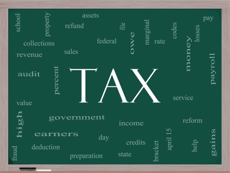 tax bracket: Tax Word Cloud Concept on a Blackboard with great terms such as rate, federal, state, income, codes and more.