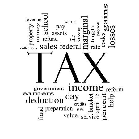 wage earners: Tax Word Cloud Concept in Black and White with great terms such as rate, federal, state, income, codes and more.
