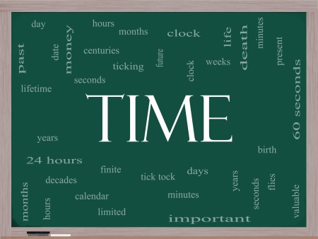 valuable: Time Word Cloud Concept on a Blackboard with great terms such as day, hours, minutes, clock, date, seconds and more. Stock Photo
