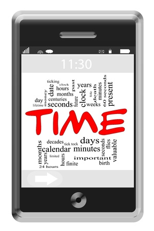 valuable: Time Word Cloud Concept of Touchscreen Phone with great terms such as and more.