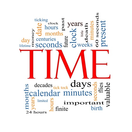 Time Word Cloud Concept with great terms such as day, hours, minutes, clock, date, seconds and more.