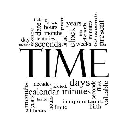 finite: Time Word Cloud Concept in Black and White with great terms such as day, hours, minutes, clock, date, seconds and more.