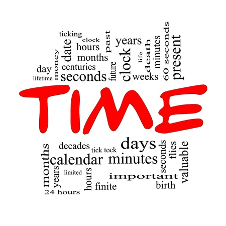 finite: Time Word Cloud Concept in Red Caps with great terms such as day, hours, minutes, clock, date, seconds and more.