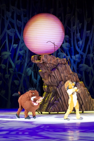 treasure trove: GREEN BAY, WI - MARCH 10:  By the mountain, Timon and Pumbaa from The Lion King on skates at the Disney on Ice Treasure Trove show at the Resch Center on March 10, 2012 in Green Bay, Wisconsin.