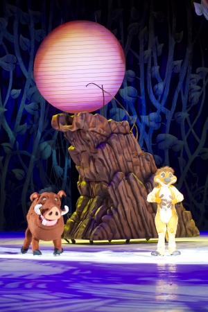 treasure trove: GREEN BAY, WI - MARCH 10:  Timon and Pumbaa together from The Lion King on skates at the Disney on Ice Treasure Trove show at the Resch Center on March 10, 2012 in Green Bay, Wisconsin. Editorial