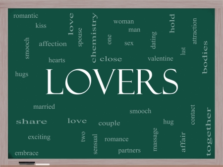 Lovers Word Cloud Concept on a Blackboard with great terms such as smooch, sensual, chemistry, sex, lust and more. Stock Photo - 17602020