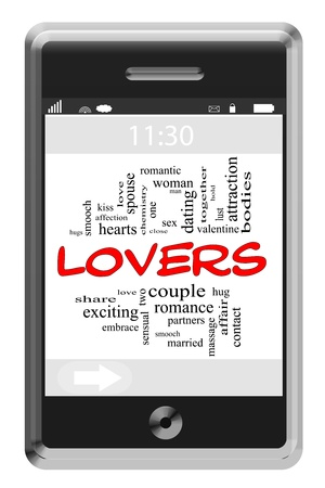 Lovers Word Cloud Concept of Touchscreen Phone with great terms such as romance, couple, sex, attraction and more. Stock Photo - 17601981