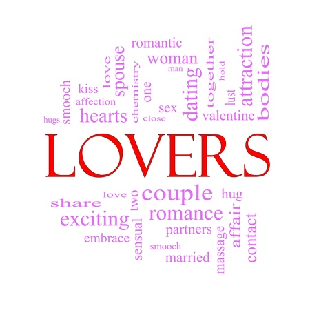 Lovers Word Cloud Concept in pink and red letters with great terms such as smooch, sensual, chemistry, sex, lust and more. Stock Photo - 17602002