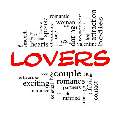 Lovers Word Cloud Concept in Red Caps with great terms such as smooch, sensual, chemistry, sex, lust and more. Stock Photo - 17602001