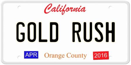 Een imitatie California kenteken met april 2016 stickers en GOLD RUSH geschreven op het maken van een concept. Woorden op de bodem Orange County.