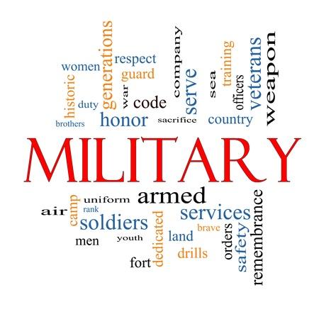 sacrificio: Palabra Nube Concepto Militar con grandes t�rminos como el honor, el sacrificio, el pa�s, y m�s valiente.