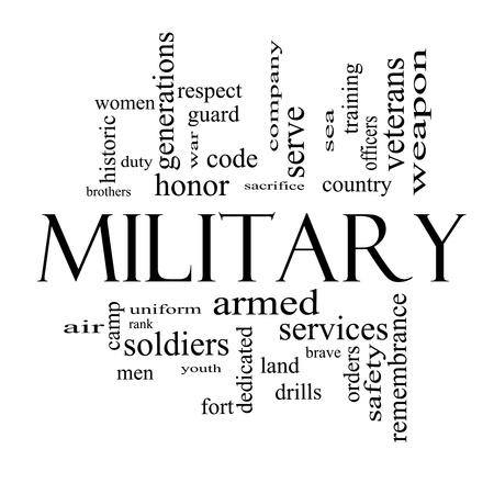 sacrificio: Concepto Militar nube de la palabra en blanco y negro con grandes t�rminos como el honor, el sacrificio, el pa�s, y m�s valiente.