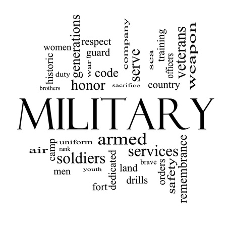 sacrifice: Military Word Cloud Concept in black and white with great terms such as honor, sacrifice, country, brave and more.
