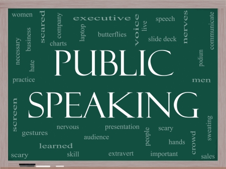public speaking: Public Speaking Word Cloud Concept on a Blackboard with great terms such as business, slide deck, podium, nervous and more.