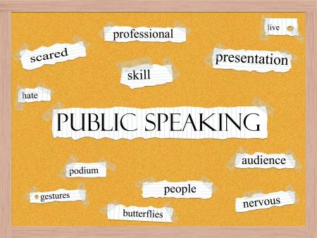hablar en publico: Public Speaking Corkboard Concept Word con t�rminos de calidad, como habilidad asustado, podio en vivo, y mucho m�s.