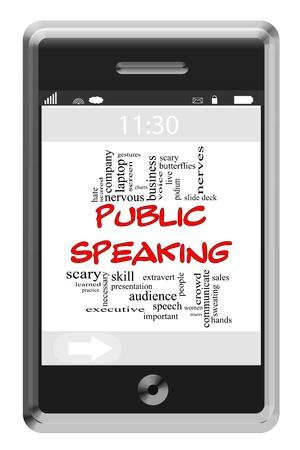 hablar en publico: Palabra Hablar en P�blico Nube Concepto de tel�fono con pantalla t�ctil con t�rminos de calidad, como los gestos, palabras, cubierta, asustados y m�s.
