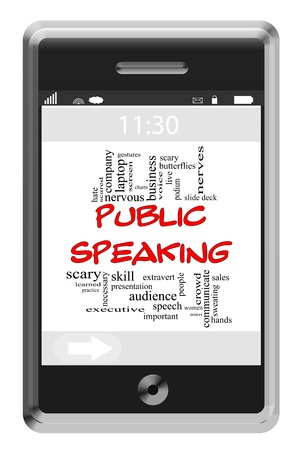 public speaking: Public Speaking Word Cloud Concept of Touchscreen Phone with great terms such as gestures, speech, deck, scared and more. Stock Photo