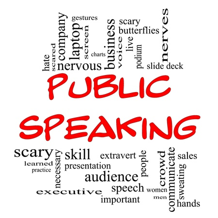 Public Speaking Word Cloud Concept in red caps with great terms such as business, slide deck, podium, nervous and more. Stock Photo