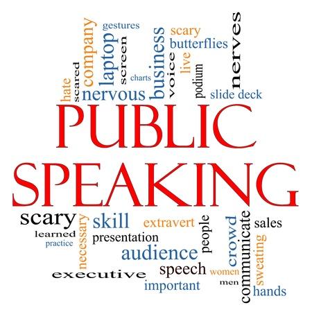 hablar en publico: Public Speaking Palabra Nube Concepto con grandes términos como los negocios, de diapositivas, podio, nervioso y más.