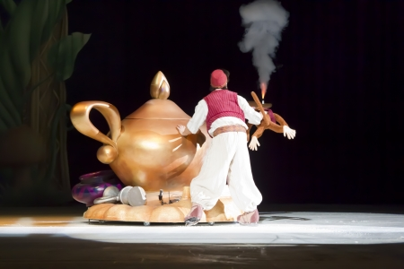 GREEN BAY, WI - MARCH 10: Aladdin and the magic lamp on skates from Aladdin at the Disney on Ice Treasure Trove show at the Resch Center on March 10, 2012 in Green Bay, Wisconsin.