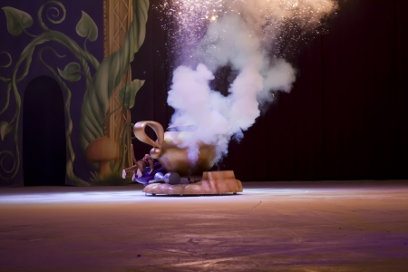 treasure trove: GREEN BAY, WI - MARCH 10:  Smoke coming out of Magic Lamp from Aladdin at the Disney on Ice Treasure Trove show at the Resch Center on March 10, 2012 in Green Bay, Wisconsin. Editorial