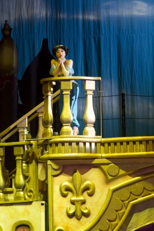 GREEN BAY, WI - MARCH 10: Princess Jasmine on the balcony on skates from Aladdin at the Disney on Ice Treasure Trove show at the Resch Center on March 10, 2012 in Green Bay, Wisconsin.