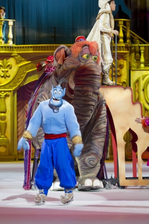 treasure trove: GREEN BAY, WI - MARCH 10:  Aladdin Genie and Elephant on skates from Aladdin at the Disney on Ice Treasure Trove show at the Resch Center on March 10, 2012 in Green Bay, Wisconsin. Editorial