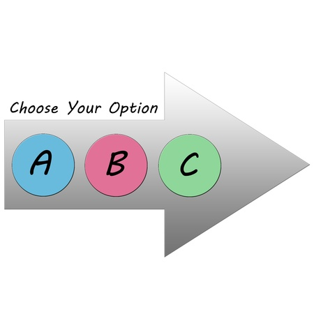 A Choose Your Option Arrow in gray with the colorful choices of A, B, or C making a great concept. Banco de Imagens