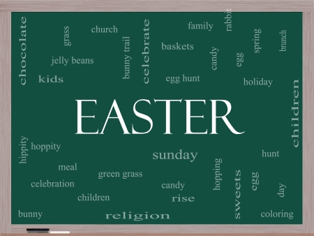 Easter Word Cloud Concept on a Blackboard with great terms such as jelly beans, bunny, egg, sunday and more. Stock Photo - 17685549